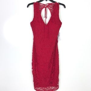 Bisou Bisou NWT Red Lace Halter Dress New